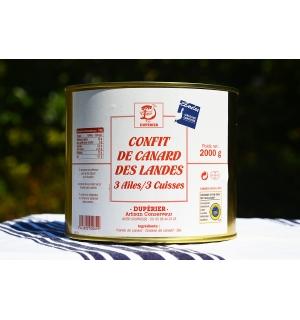 CONFIT DE CANARD GRAS DES LANDES 3 AILES + 3 CUISSES